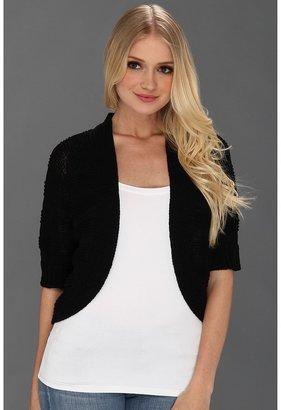 Calvin Klein Three Quarter Sleeve Circle Shrug (Black) - Apparel