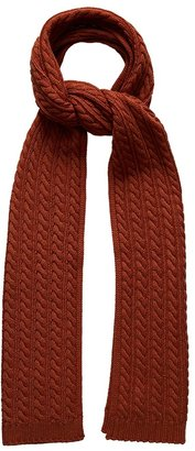 Eton Orange Cable Knit Wool Scarf
