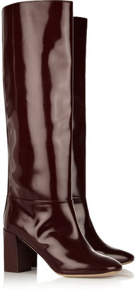 Chloé Glossed-leather knee boots