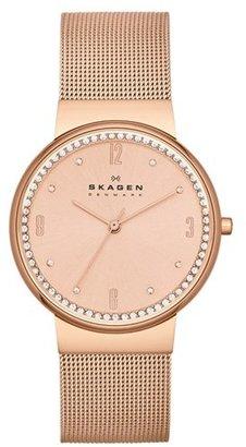 Skagen Crystal Bezel Mesh Strap Watch, 34mm