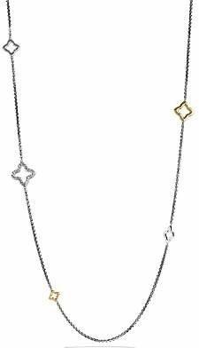 David Yurman Quatrefoil Chain Necklace with Gold