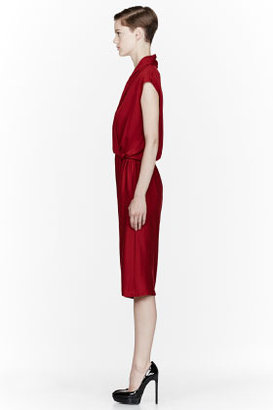 Lanvin Red jersey gathered FBG Dress