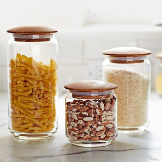 Williams-Sonoma Glass Canisters with Wood Lids, Set of 3
