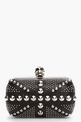 Alexander McQueen Black Studded Leather Britannia Box Clutch