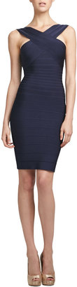 Herve Leger Cut-In Bandage Dress, Pacific Blue
