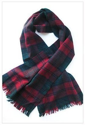 Burberry Orville and Frances Tartan Plaid Scarf in Evergreen and Red