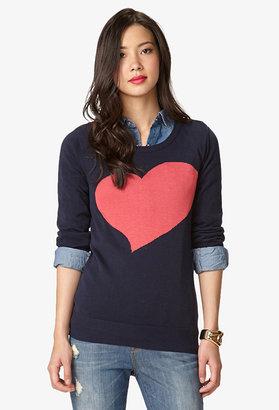LOVE21 LOVE 21 Essential Heart Crewneck Sweater