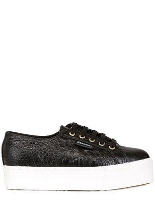 40mm Croc Embossed Leather Sneakers