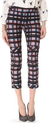 Derek Lam 10 crosby Plaid Slim Pants with Knee Seams