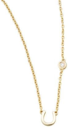 Sydney Evan SHY by Horseshoe & Single-Diamond Necklace