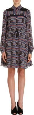 Proenza Schouler Geometric Print Georgette Shirt Dress