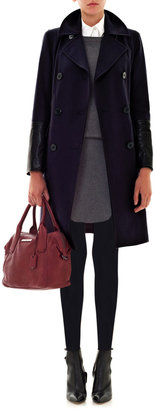 DKNY Leather trim double-breasted coat