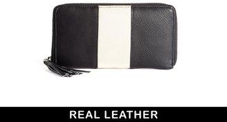Urban Code Urbancode Leather Black Large Zip Around Purse With Winter White Panel
