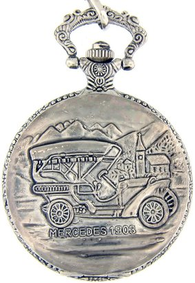 """Mercedes Benz Geneva Pocket Watch -Silver Tone Pocket Watch with 14"""" Clip on Chain"""