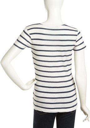 French Connection Short-Sleeve Striped Heart Tee, Daisy White/Nocturnal/Coral