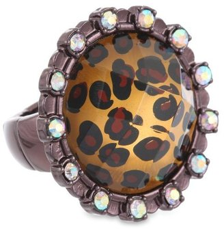 """Betsey Johnson A Day at the Zoo"""" Leopard Stretch Ring, Size 7.5"""