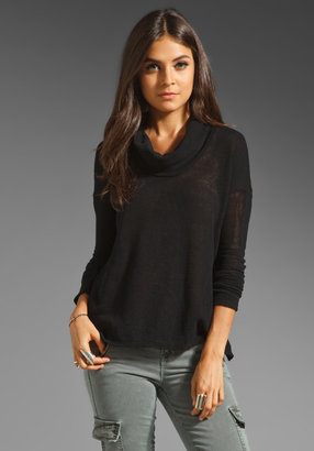 James Perse Mesh Funnel Neck Top