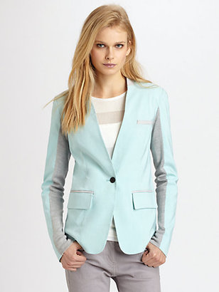Yigal Azrouel Cut 25 by Leather-Trimmed Stretch Faille Blazer