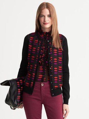 L'Wren Scott Collection Lip Print Cardigan