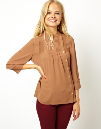 Asos Blouse with Pintuck Detail and Asymmetric Placket