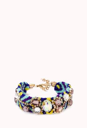 Forever 21 Kitschy Rhinestoned Woven Bracelet