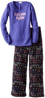 Calvin Klein Big Girls' 2 Piece Thermal Sleepwear Set