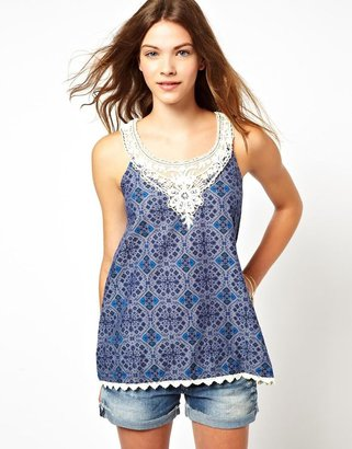 Pepe Jeans Printed And Crochet Top