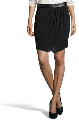 Wyatt black silk and faux leather gathered mini skirt