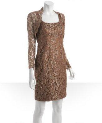 Carmen Marc Valvo hazelnut metallic lace dress with shrug