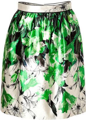 Prabal Gurung Silk-Cotton Gathered Skirt in Green/White
