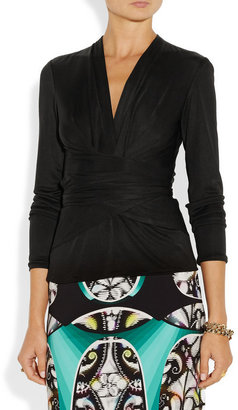 Issa Wrap-effect silk-jersey top