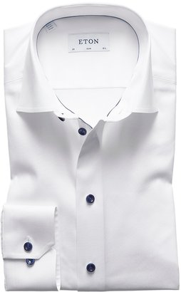 Eton White Twill Shirt With Navy Details - Slim Fit