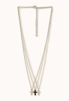 Forever 21 Layered Cross Necklace