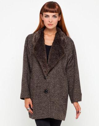 Motel Rocks Motel Willow Tweed Coat With Faux Fur Collar