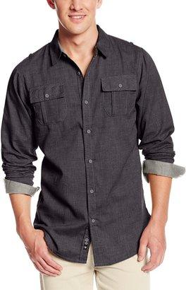 Burnside Men's Long Sleeve Button Down Solid Woven Shirt