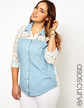 Asos Denim Shirt With Lace Back And Sleeve