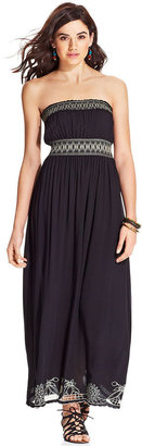 American Rag Strapless Embroidered Maxi Dress