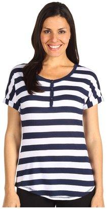 PJ Salvage White Impressions Striped Top (Navy) - Apparel