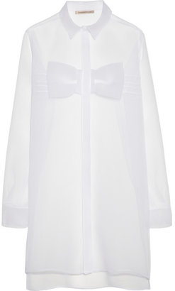Christopher Kane Bow-front crinkled-chiffon mini dress
