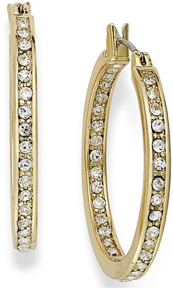 Charter Club Gold-Tone In/Out Crystal Hoop Earrings