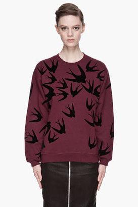 McQ by Alexander McQueen Maroon Swallow Sweatshirt