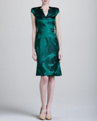 Zac Posen Metallic V-Neck Dress