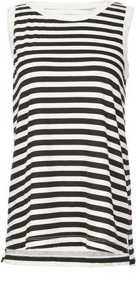 Current/Elliott Sleeveless Striped Cotton Muscle Tee