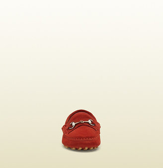 Gucci Kid's Red Suede Horsebit Driving Shoe