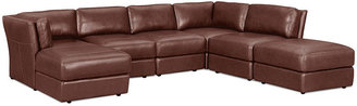 """Ramiro Leather Modular Sectional Sofa, 6 Piece (Square Corner Unit, Chaise, 3 Armless Chairs and Ottoman) 140""""W x 101""""D x 33""""H"""
