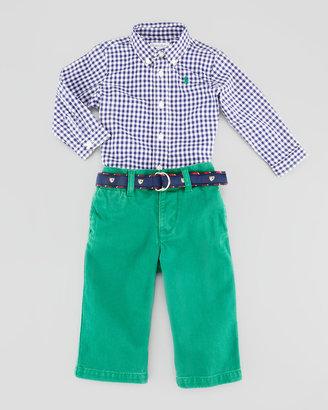 Ralph Lauren Gingham Button-Down Shirt & Jeans Set, 3-9 Months