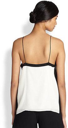Tibi Contrast-Trim Silk Camisole