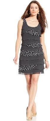 SL Fashions Sleeveless Tiered Polka-Dot Dress