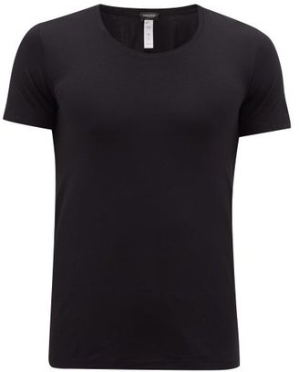Hanro Crew-neck Stretch-cotton Jersey T-shirt - Mens - Black