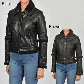 Knoles & Carter Women's Sherpa-sleeve Short Leather Jacket $72.99 thestylecure.com